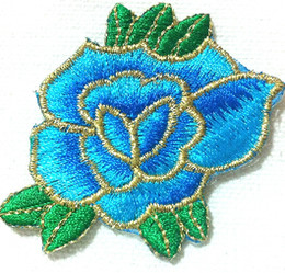Wholesales 10 Pieces Light Blue Peony Flower Stage Clothes ( 6cm x 5.5 cm ) Embroidered Applique Iron On Patch (B)
