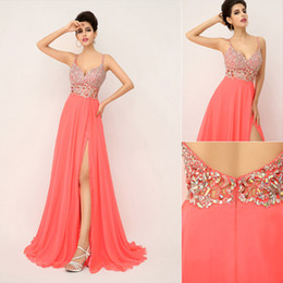 Wholesale 2014 New Cheap Fashion Sexy Luxury Coral Prom Dresses Chiffon Crystal Spaghetti Strap Side Slit Bridal Party In Stock Evening Gowns XU015