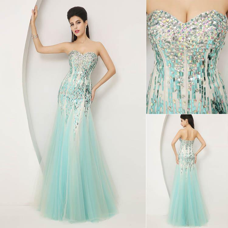 Buy Stock ! 2014 Extravagant Real Image Blue Crystal Evening Dresses Beaded Prom Gown Backless Mermaid/Trumpet Sweetheart Formal SSJ
