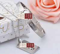 Wholesale Lovers crystal rhinestone heart key lock necklace bracelet Jewelry Set silver plated stainless steel love key pendant bangle sets