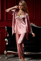 Wholesale 2014 New spring autumn Sexy Robes women silk satin Lace Nightgown piece tracksuit sleep suit or two piece pajama sets sleepwear Free size