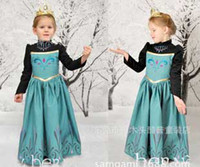 Wholesale 2014 new hot autumn winter spring frozen girls dresses cotton long sleeve long dress for baby girl Elsa anna princess dress Y