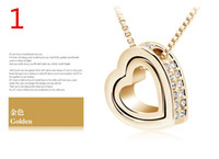 Earrings & Necklace attraction wedding - 2016 hot sale Austria K crystal lovely Double heart attraction form Pendant Necklace fashion women crystal fashion jewelry ZZS43