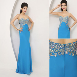 Wholesale 2014 New In Stock On Hand Cheap Blue Fashion Sexy Sheath Evening Dresses Chiffon Crystal Applique Strapless Bridal Party Evening Gowns AJ002