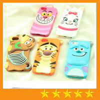 Wholesale 3D Cartoon Cat Dog Tiger Animal Monsters Sulley Tigger Marie Alice Cat Silicone Case for iphone S iphone S iphone free