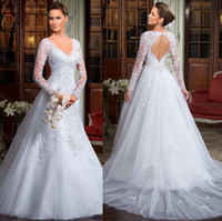 A-Line best pastel - 2014 Best selling A Line Backless Wedding Dresses Long Sleeves V Neckline Sheath Lace Mermaid Court Train Tulle Appliqued Wedding Gowns