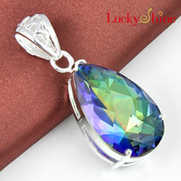 Free shipping - - - Luckyshine 925 silver blue CZ crystal topa...