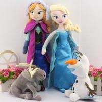 Wholesale 4pcs set Frozen cm Princess Elsa Anna Plush Olaf the snowman Sven plush toys stuffed dolls cotton lovely gift