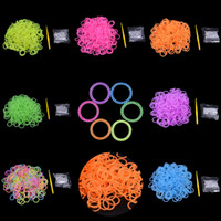 Charm Bracelets   Wholesale - 7 Color DIY silicone loom bands mixed colors Pearl Rainbow rubber loom bands used to make bracelet 600 loom bands-24 clip+hook