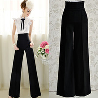 Women Flare Loose Women's Mode Black High Waisted Palazzo Pleated Trousers Pants