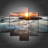 More Panel Watercolor Fashion Free Shipping 5 Panels Oil Painting Art Sunrise on the sea landscape Wall Pictures for Living Room Decoration On Canvas Print