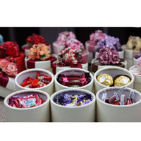 Wholesale Flower Luxury European Style New Wedding Flower Candy Box Cylindrical Wedding Favors Holder Gift TSQ60