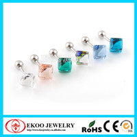 Dangle & Chandelier Clear, Pink, L.blue, D.blue, Emerald, AB Fashion Cube Square Cartilage Tragus Earring Free Shipping