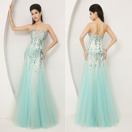 Wholesale 2014 New In Stock Blue Fashion Sexy Luxury Bodycon Sheath Party Dresses Tulle Crystal Sequins Strapless Long Bridal Evening Gowns AJ004