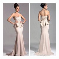Reference Images Sweetheart Satin LM Janique Formal Evening Dresses Champagne Mermaid Sweetheart Gowns Appliques Peplum Prom Dress Red Carpet Gown Backless Custom Made