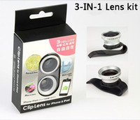 Wholesale Universal Clip Fish Eye Wide Angle Macro Lens Camera Photo for Mobile Phone Iphone s Sumsang s4 note Accessories Free DHL Factory Price