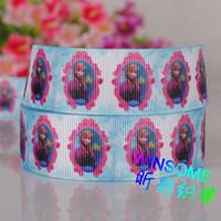 printed grosgrain ribbon - 80 Yards mm Frozen princess girl printed ribbon packing DIY cartoon nylon grosgrain ribbon