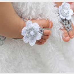 Wholesale Handmade Knit Flowers Barefoot Sandals Infant Toddler Baby Feet Decoration