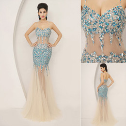 Wholesale 2014 New Fashion Sexy Luxury Bodycon See Through Mermaid Evening Dresses Crystal Spaghetti Strap Long Bridal Party Prom Pageant Gowns AJ005
