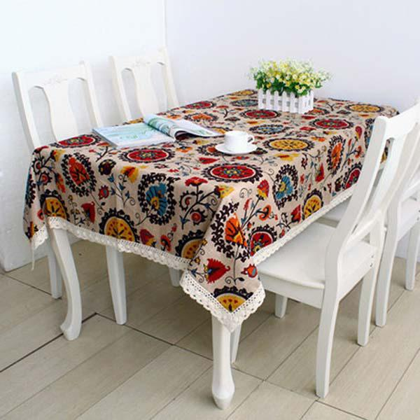 Thicknen Table Cloth Bohemian Style High Quality Cotton Linen