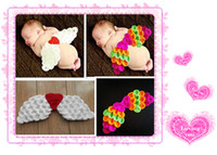 Wholesale Baby Girls Boy Newborn M Knit Crochet Angel Wings Clothes Photo Prop Outfits