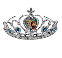 Wholesale Sparking Crystal Cubic Anna Elsa Tiara Crown Hair Band Accessory For Children Girl Mix Models