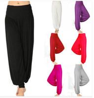 Wholesale 2014 new arrival Factory price Women Lady dance Sport pants yoga pants Comfy Long Pants Belly Wide Trousers M XXL