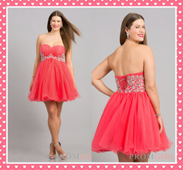 Wholesale Hot Sale Water Melon Plus Size Special Occasion Dresses Sweetheart Sleeveless Back Lace Up Beads A Line Tulle Mini Special Occasion Gowns ZX
