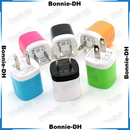 Wholesale Colorful USB Home AC Power Adapter Travel Charger US Plug Wall Charger Charging For iPhone iPad iPod Samsung HTC Huawei