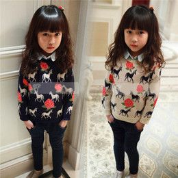 Wholesale 2014 Spring autumn baby horse totem cotton girls sweaters the pony rose children knitting coat kids pullover knitwear SM208