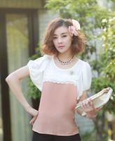 Crew Neck Short Sleeve Regular Women's Lace Sweet Tops Hot Sale Style Chiffon Blouse M L XL XXL