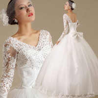 beautiful pictures angels - Angel wedding latest beautiful luxurious lace deep V collar long sleeved Halter straps Princess Wedding