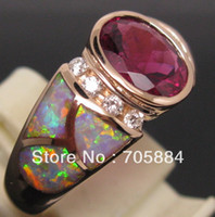 Gold Ring 18K 2.80CT SOLID 18K ROSE GOLD SPARKLY PINK RUBELLITE DIAMONDS WEDDING ENGAGEMENT & OPAL RING