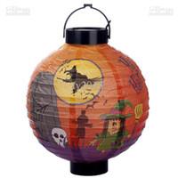 Wholesale Halloween decoration supplies props portable pumpkin paper lantern multicolour battery paper lantern