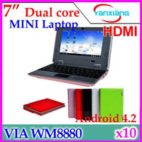 Wholesale DHL inch Dual Core Mini Laptop Android VIA Cortex A9 GHZ HDMI WIFI MB GB Mini Netbook RW L01