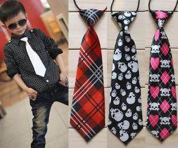Children Baby Necktie Neck Ties Boys Girls Elastic Rubber Band Stripe Printed Solid School Tie Kids Accessories Free Shipping 3 pcs