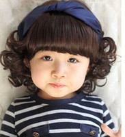 Wholesale Newest Child wig with curly hair wig baby photography photos cute adorable