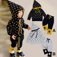 Unisex Spring / Autumn Long 2014 autumn style five stars sport children suit pointed hat Pure cotton terry Unisex hooded outfit for girls boys ( 5set lot)