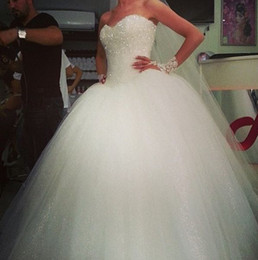 Wholesale 2015 Romantic white tulles ball gown wedding dresses sequins shining sweetheart sexy backless sweep train formal bridal gowns BO5457