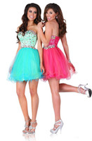 Reference Images Tulle Sweetheart 2014 New Fashion Beads Crystals Homecoming Dresses Short A Line Corset Back Short Prom Gowns Party Gowns Hot Sale 0726B