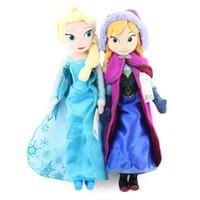 Wholesale In Stock DHL cm Princess Elsa plush Anna Plush toys cute stuffed dolls cotton lovely Birthday gift for kids