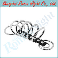 Steel Penis Rings RomeoNight Stainless Steel + Leather Time Delay Rings ( 7 Rings Set ), Male Sex Toys Penis Cock Rings, Erotic Sex Products
