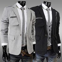 Men Lapel Neck Long Sleeve woolen single-breasted Men's Slim hat Design New Hot Stylish Men Casual Slim Fit Button Suit Blazer Jackets Coat mjc579