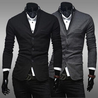 Men Lapel Neck Long Sleeve Free Shipping single-breasted Men's Slim hat Design New Hot Stylish Men Casual Slim Fit Button Suit Blazer Jackets Coat mjc578