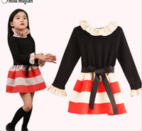 Wholesale Phelfish girls fashion high necked striped dresses children high quality long sleeve one piece kids spring clothing tdlgmy