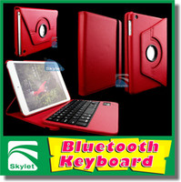 Wholesale Bluetooth Keyboard Wireless Keyboard For iPad Air Ipad Ipad Mini Degree Rotation Leather Case Pieces With Retail Package DHL Free