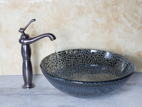 Wholesale 415597040 Bathroom Round Art Washbasin Tempered Glass Vessel Sink With Oil Rubbed Bronze Brass Faucet Set