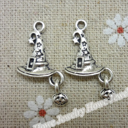 Wholesale 30 Vintage Charms Witches hat Pendant Antique silver Fit Bracelets Necklace DIY Metal Jewelry Making