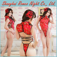 Wholesale Flirt Bedroom Sexy Backless Chinese Cheongsam Cosplay Lingerie Costumes Women Sexy Babydolls Lingerie Costumes