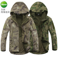 Camping & Hiking green army men - Army Camouflage Soft Shell Outdoor Jacket Men Tad Shark Green Military Tactical Waterproof Sports Spring Hoody Hunting Jacket